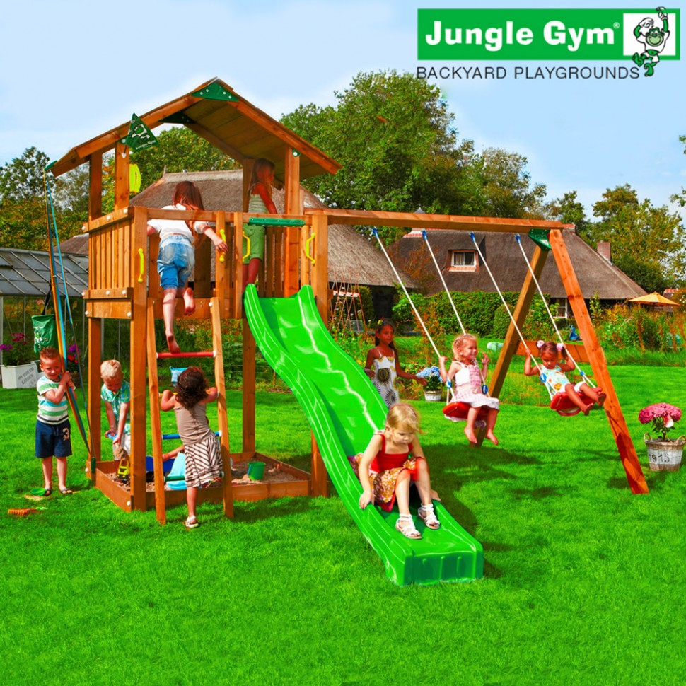 Детские городки Jungle Chalet + Swing Module Xtra